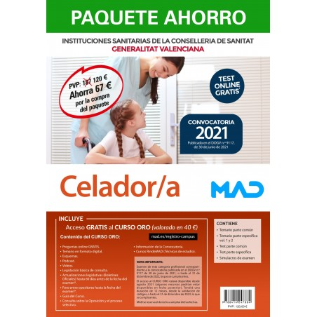 Paquete Ahorro+Test papel Celador/a